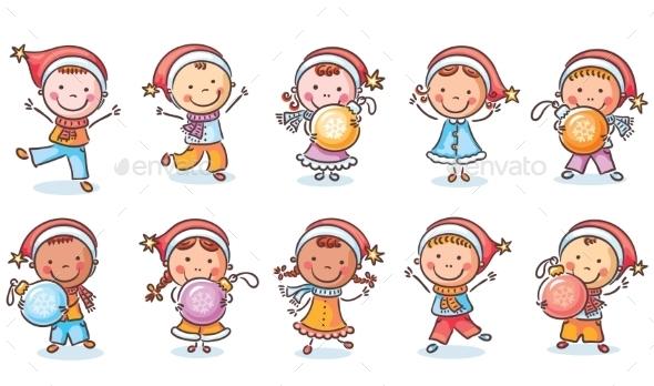 Set of Happy Cartoon Kids in Santa Hats - Christmas Seasons/Holidays
