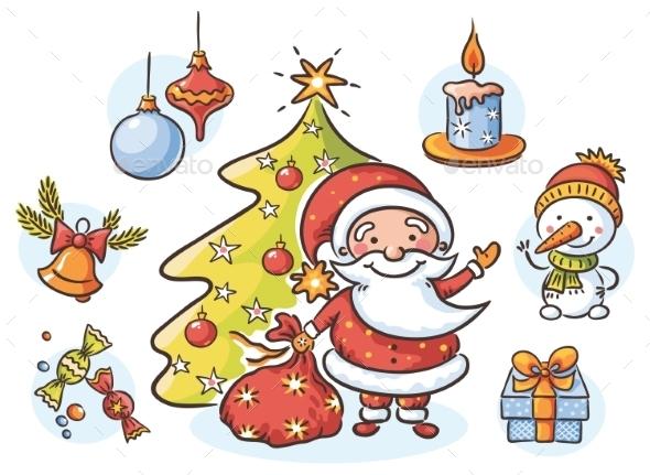 Set with Santa - Christmas Seasons/Holidays