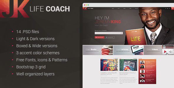 Life Coach – Personal page PSD template