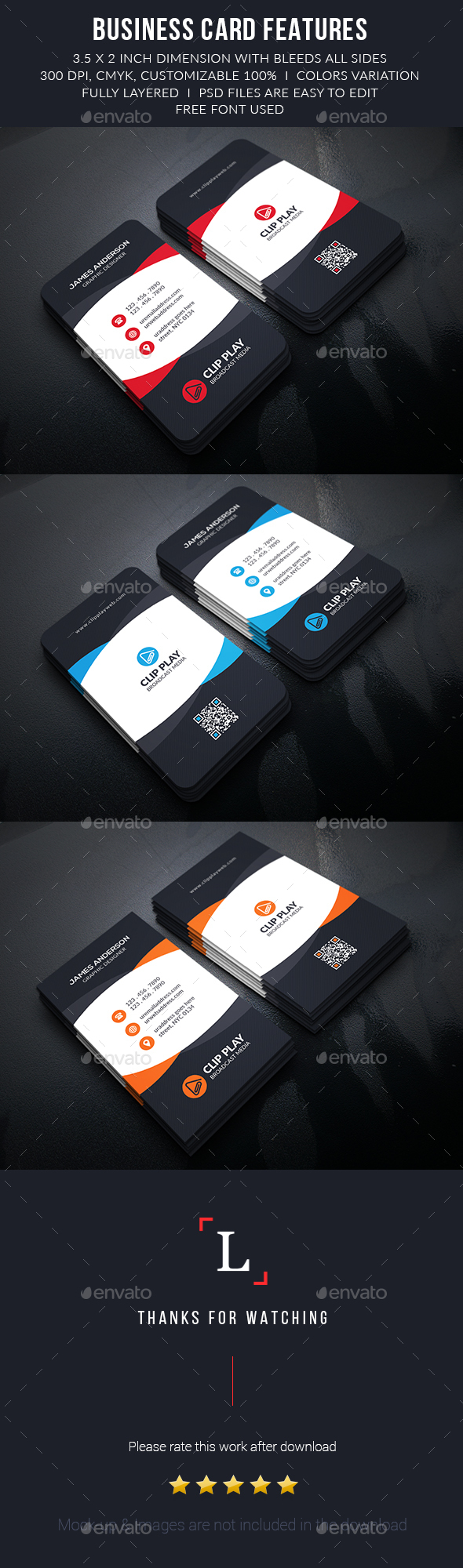 Clipplay Corporate Business Cards - Business Cards Print Templates
