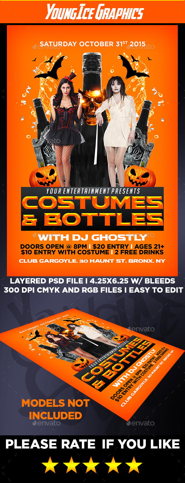 Costumes And Bottles Flyer Template - Clubs & Parties Events