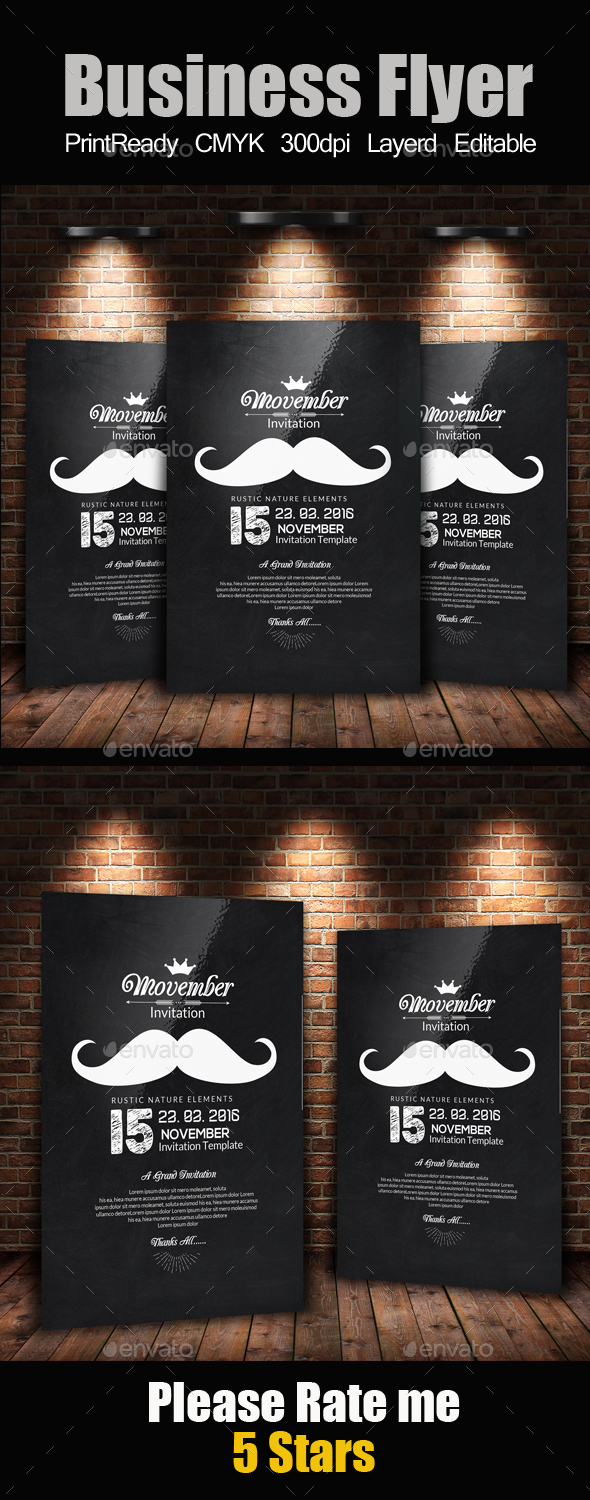 Chalk Board Movember Flyer - Miscellaneous Events
