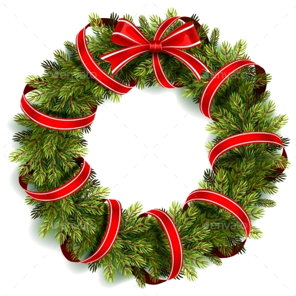 Christmas Wreath with Red Bow - Christmas Seasons/Holidays