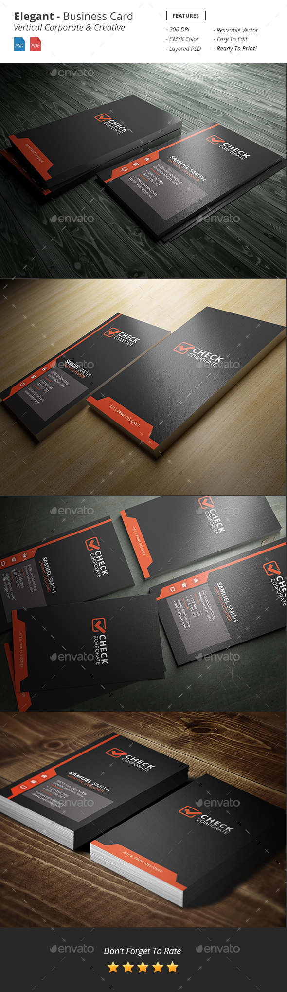 Elegant Vertical Business Card - Corporate Business Cards