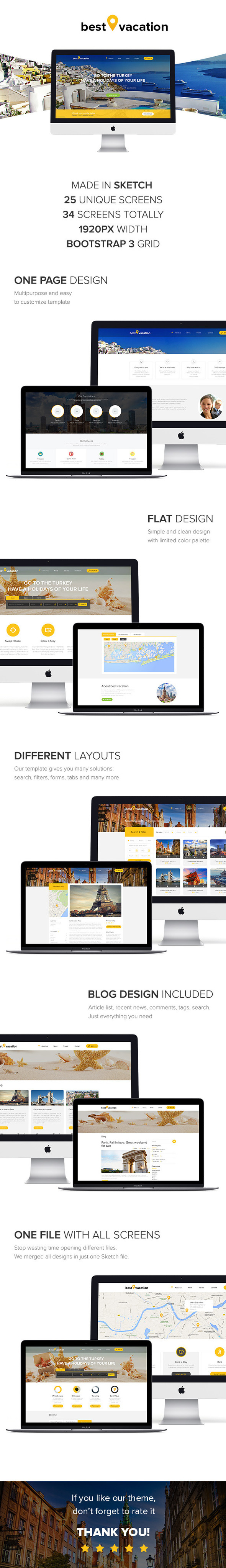 Best Vacation - Holiday Web Sketch Template - Sketch Templates