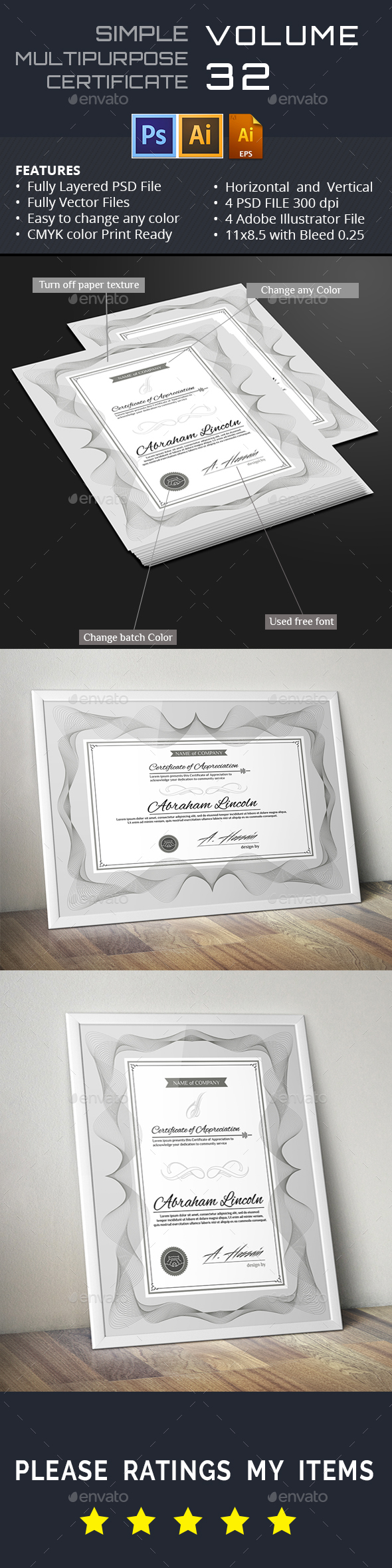 Simple Certicates GD032 - Certificates Stationery