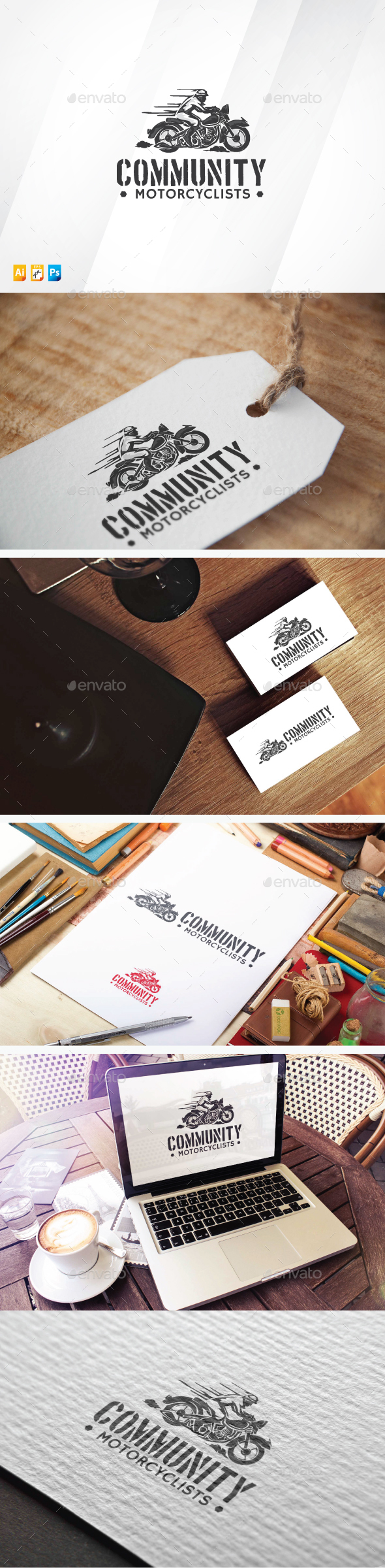Community Motorcyclists - Humans Logo Templates