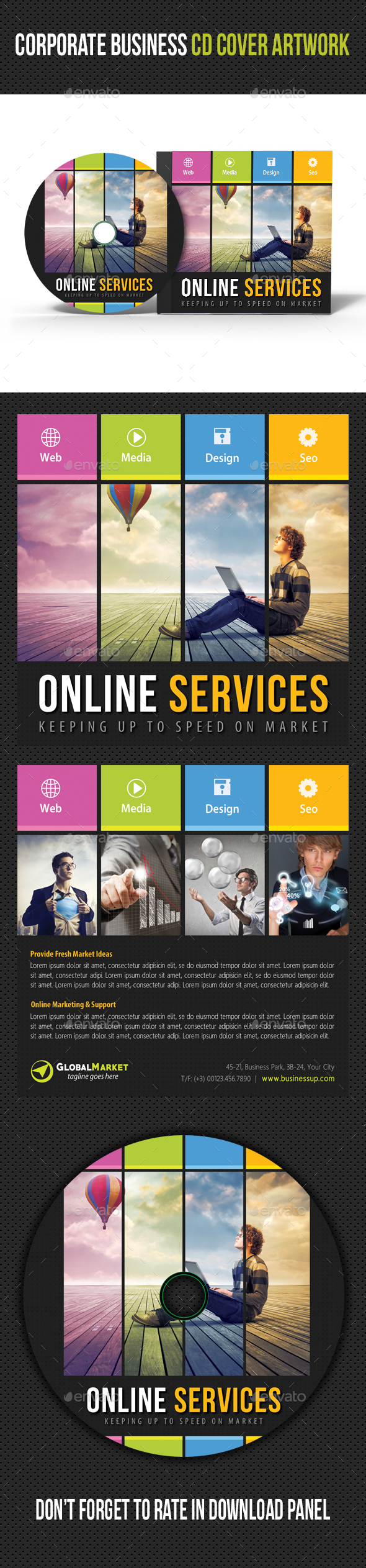 Corporate Business CD Cover Artwork V04 - CD & DVD Artwork Print Templates