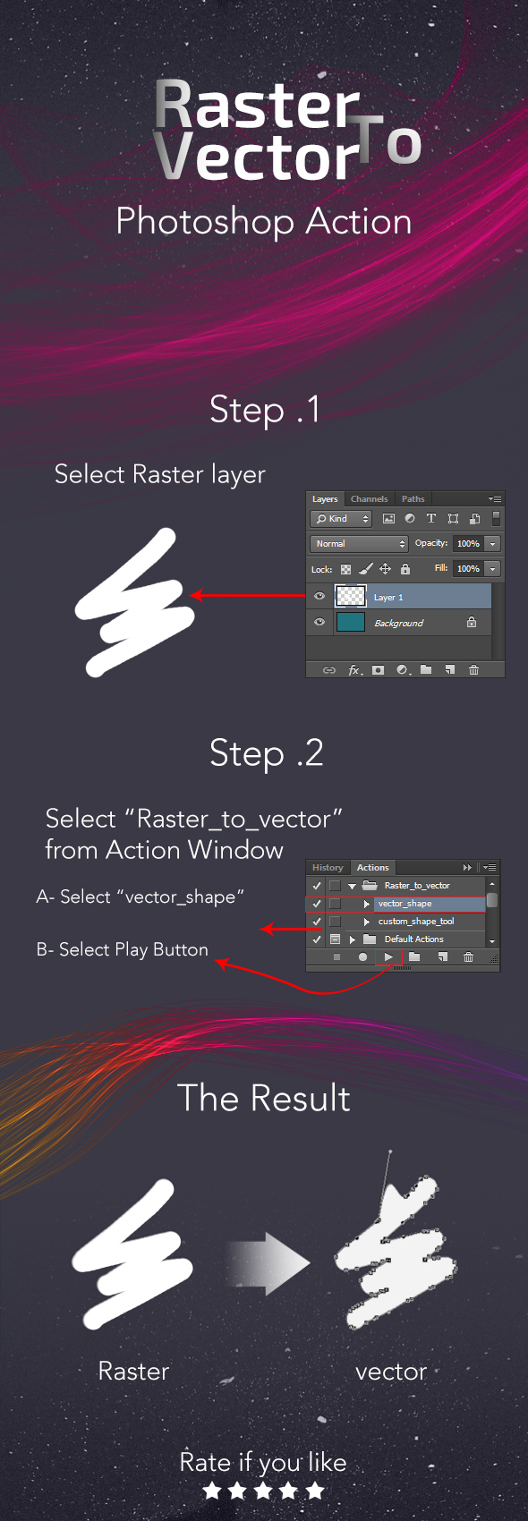 Raster to Vector Photoshop Action - Actions Photoshop