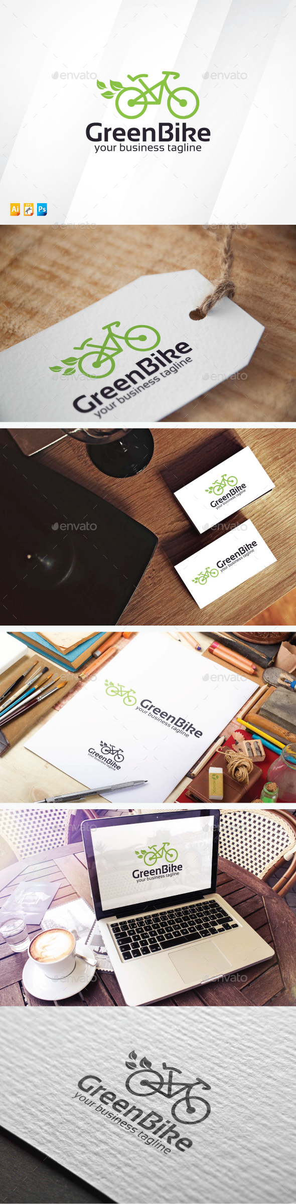 Green Bicycle - Objects Logo Templates