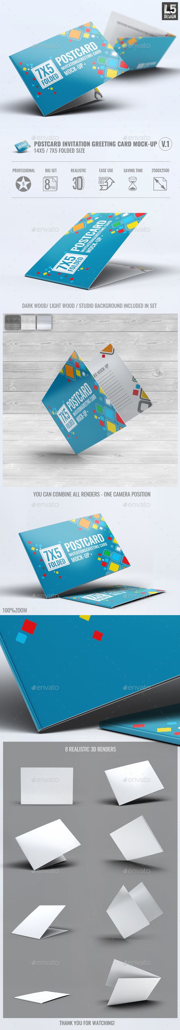 Postcard Invitation Greeting Card Mock-Up V.1 - Miscellaneous Print