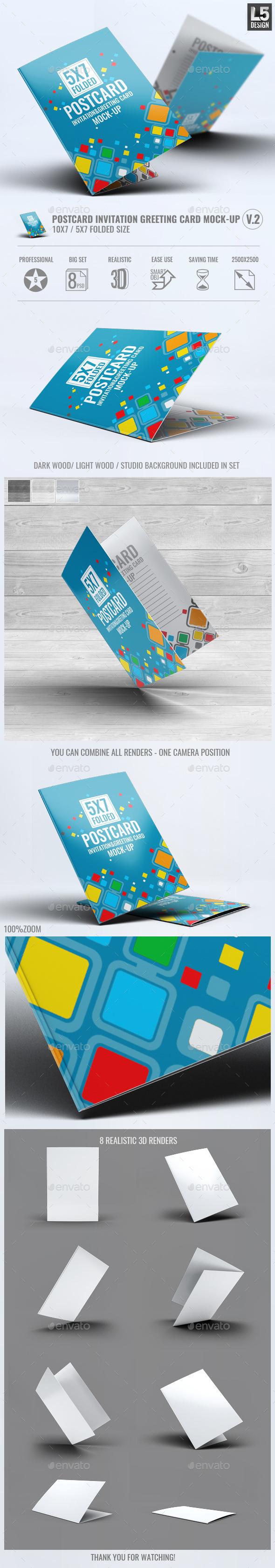 Postcard Invitation Greeting Card Mock-Up V.2 - Miscellaneous Print