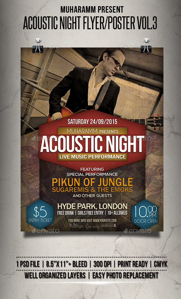 Acoustic Night Flyer / Poster Vol.3 - Events Flyers
