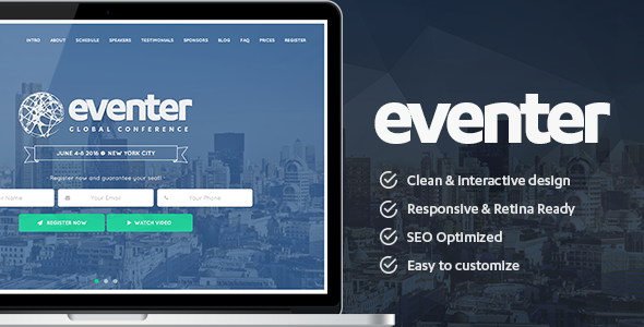 Eventer – Event and Conference Landing Page