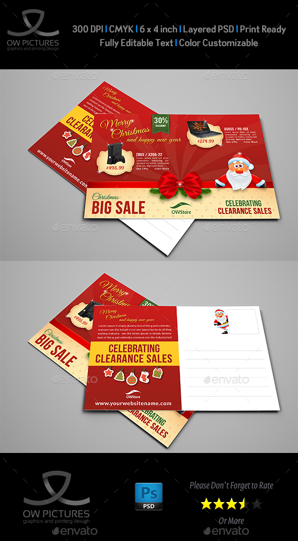 Christmas and New Year Postcard Template - Cards & Invites Print Templates