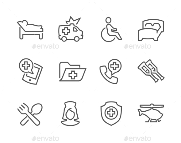 Lined Medical Transportation Icons - Icons