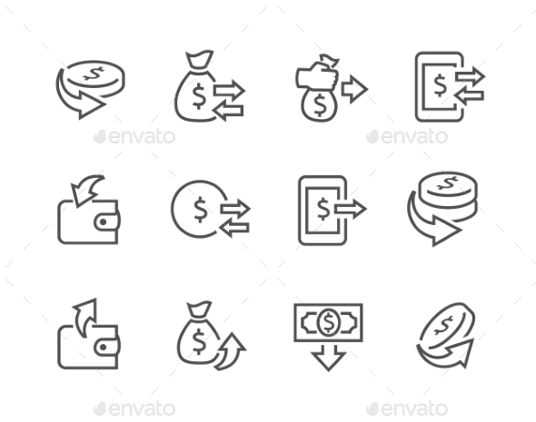 Lined Money Moving Icons - Icons