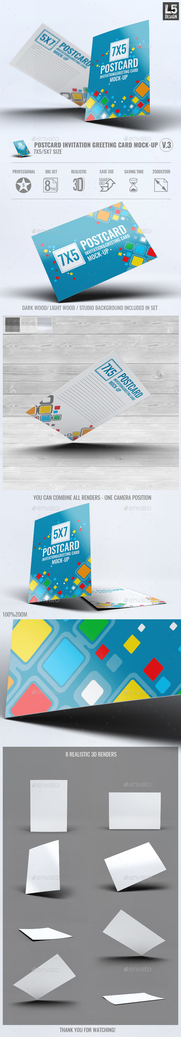 Postcard Invitation Greeting Card Mock-Up V.3 - Miscellaneous Print