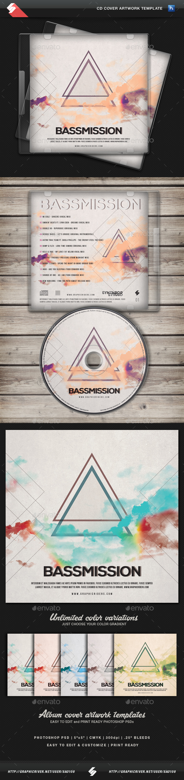 Bassmission - CD Cover Artwork Template - CD & DVD Artwork Print Templates