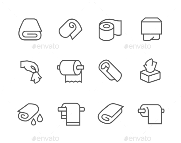 Lined Towels And Napkins Icons - Icons