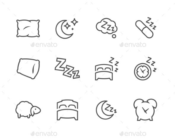 Lined Sleep Well Icons - Icons
