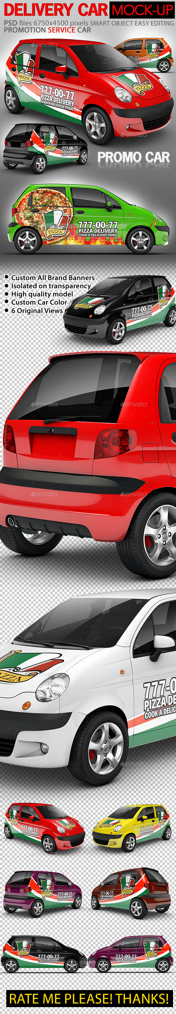 Pizza Delivery Promo Car Mock-up - Vehicle Wraps Print