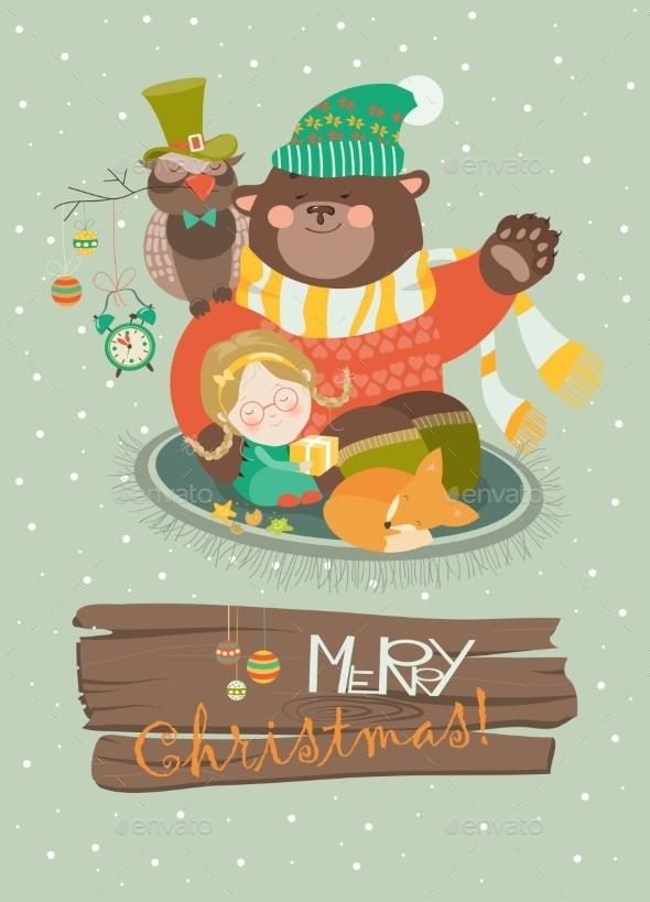 Cute Girl, Funny Bear And Owl Celebrating - Christmas Seasons/Holidays