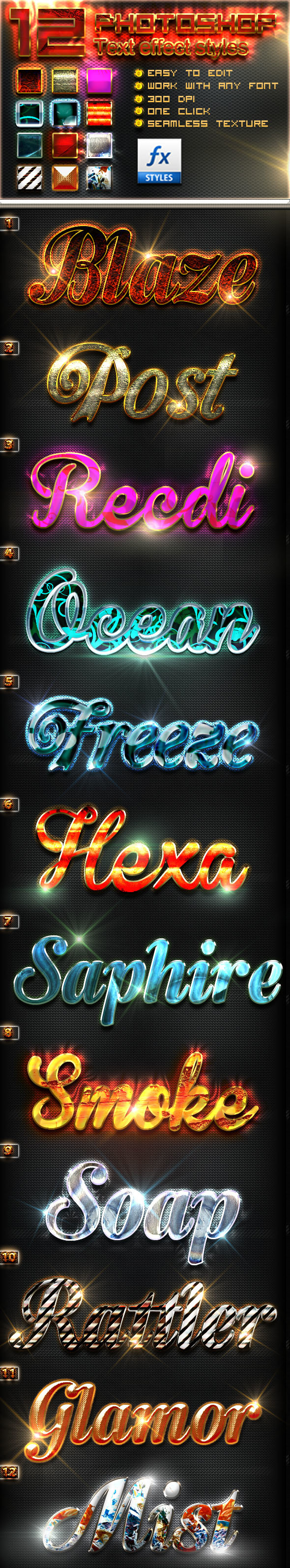 New Photoshop Text Styles vol 9 - Text Effects Styles