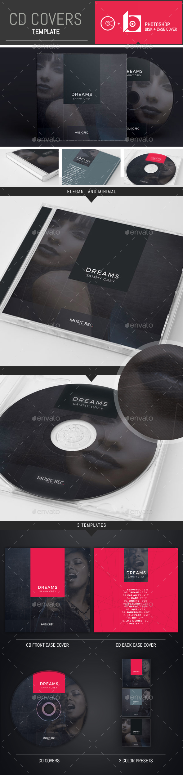 Elegant DJ / Musician CD Cover Template - CD & DVD Artwork Print Templates