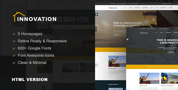 Innovation – Construction, Building HTML Template