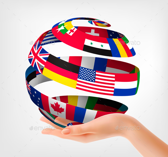 Flags Of The World On A Globe Held In Hand Vector - Concepts Business