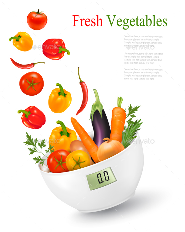 Fresh Vegetables With In A Weight Scale Diet  - Food Objects