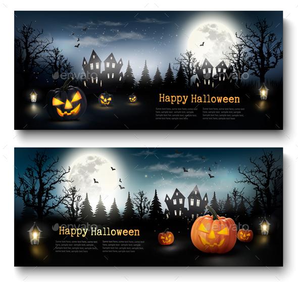 Scary Halloween Banners  With Pumpkins and Moon - Halloween Seasons/Holidays