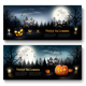 Scary Halloween Banners  With Pumpkins and Moon - GraphicRiver Item for Sale