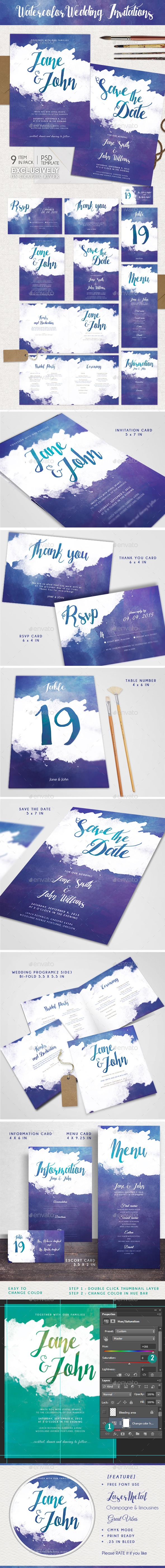 Watercolor Wedding Invitations - Weddings Cards & Invites