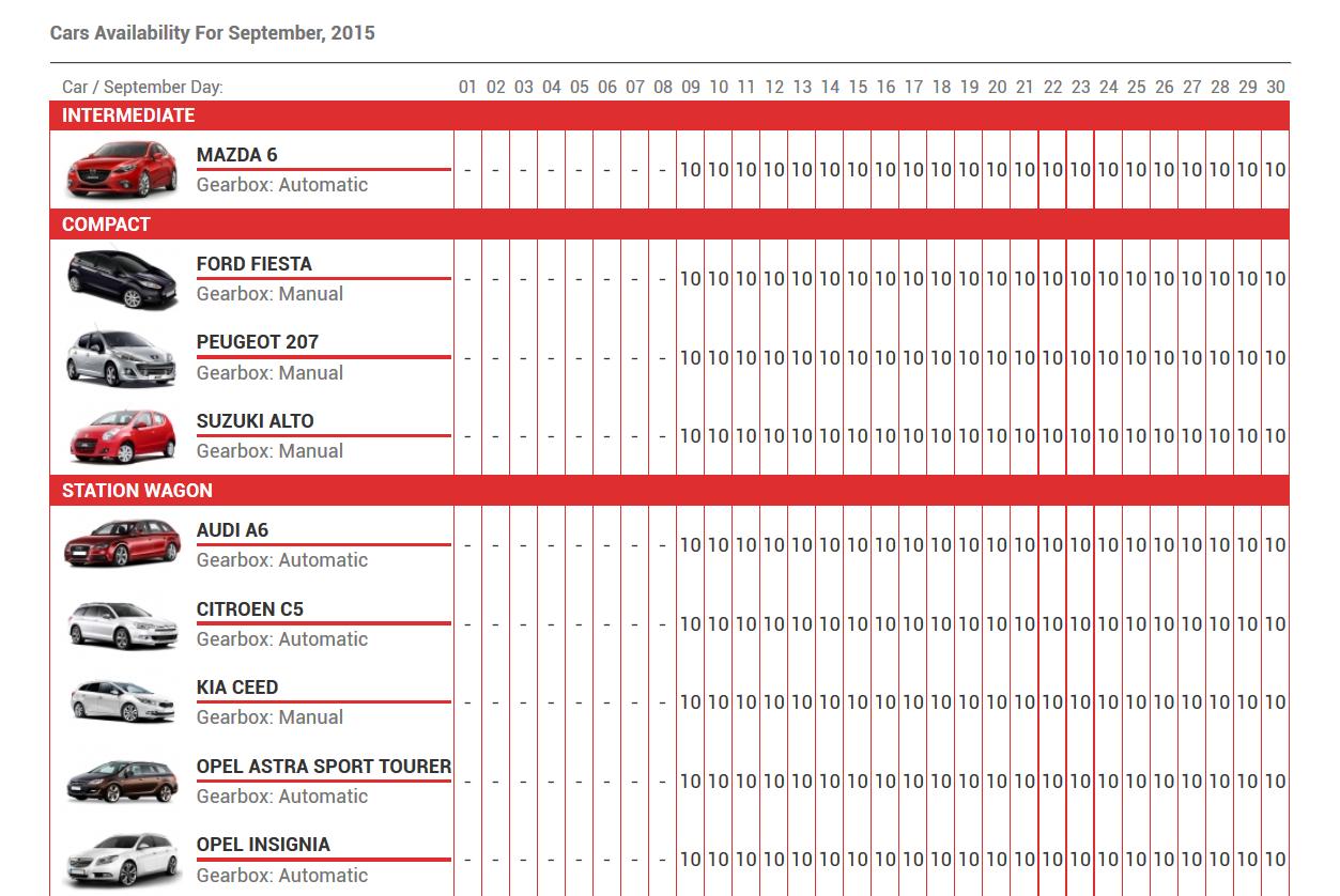 Weekly Rent Calendar : Car rental system native wordpress plugin by kestutisit