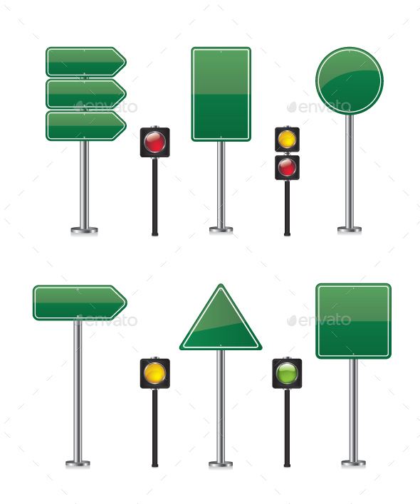 Road Sign Set Illustration - Objects Vectors