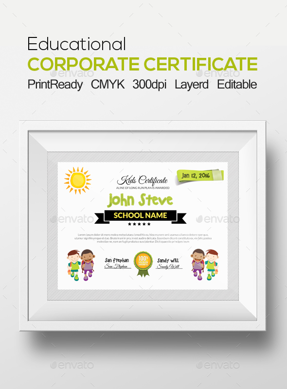 Kids Certificate and Diploma Template - Certificates Stationery