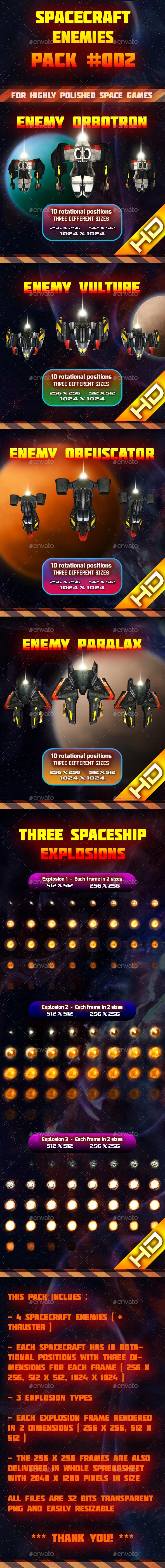 Spaceship Enemy Sprites Pack 002 - Sprites Game Assets