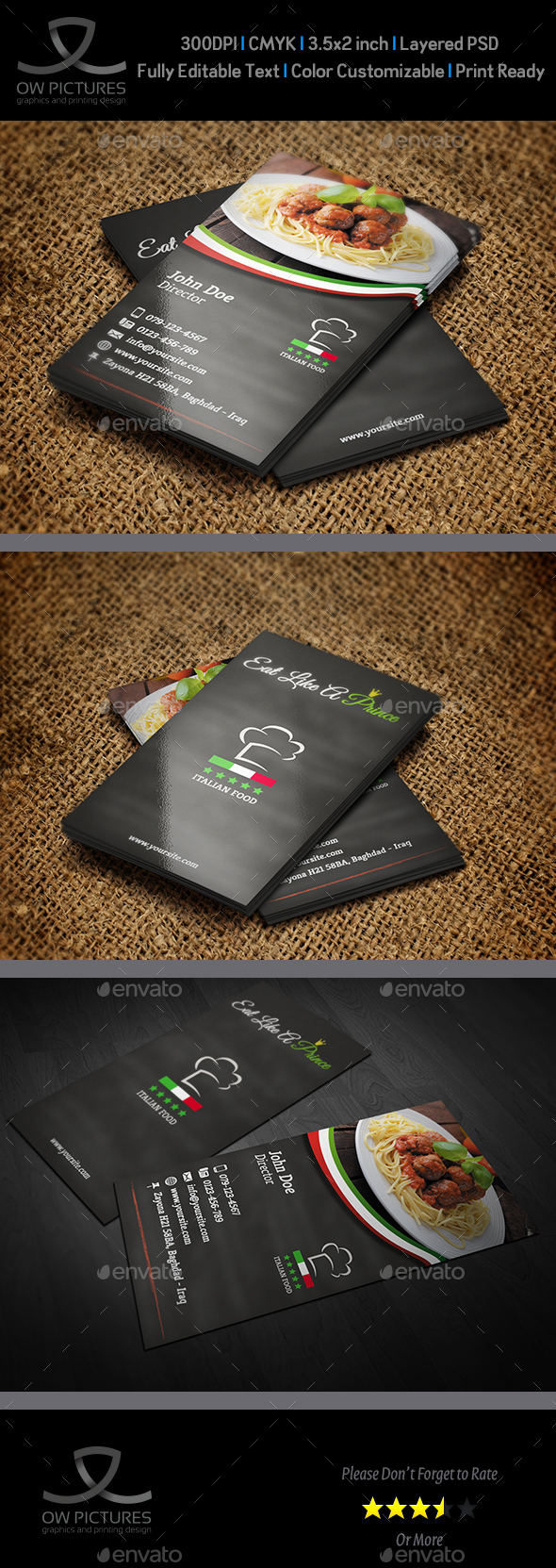 Italian Restaurant Business Card Template - Business Cards Print Templates