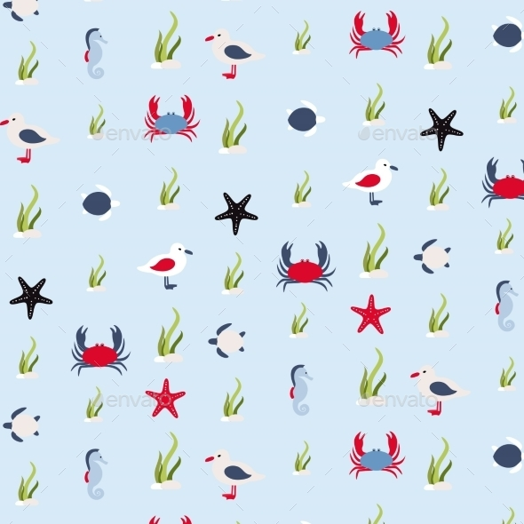 Seamless Pattern In Marine Style - Backgrounds Decorative