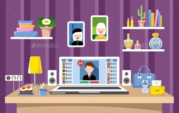 Desktop Of The Woman - Web Technology