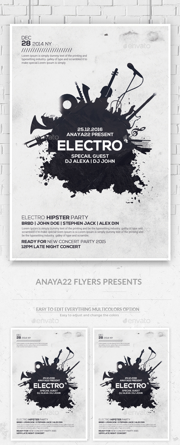 Electro Music Flyer Psd Template - Clubs & Parties Events
