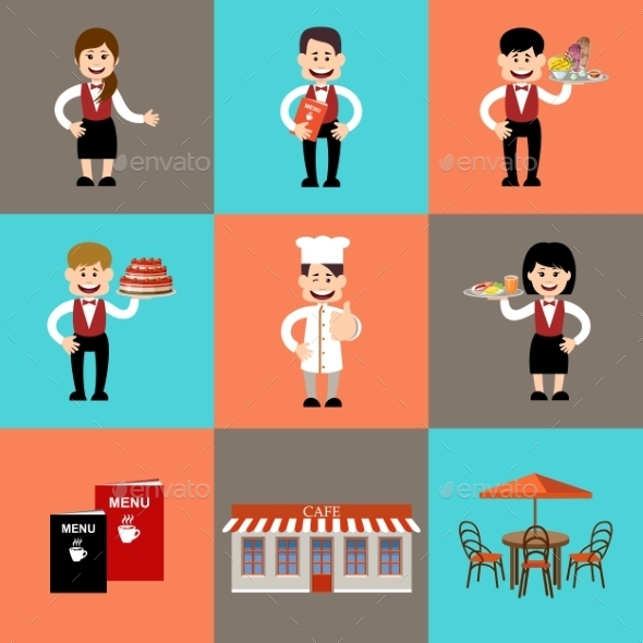 The Service Personnel In Cafe And Restaurants - People Characters