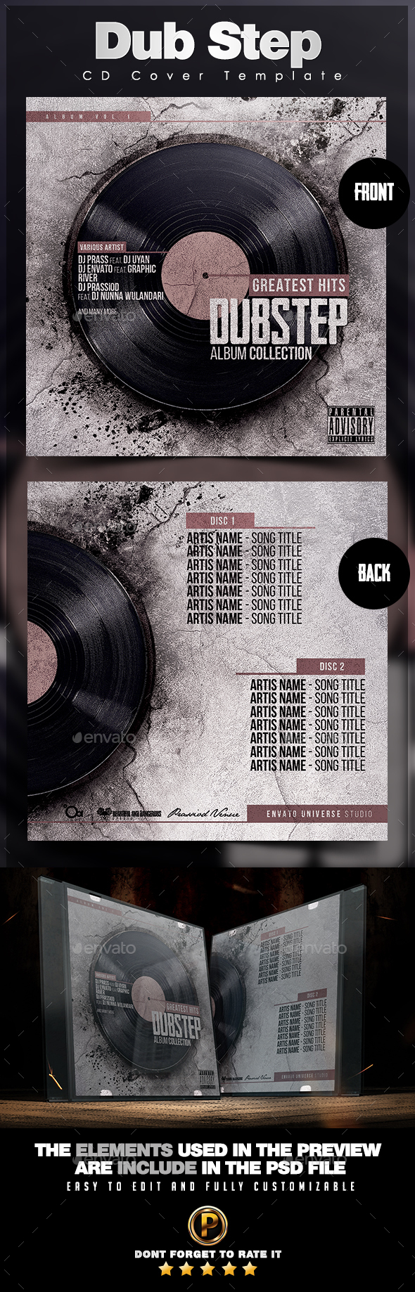 Dub Step CD Cover Template - CD & DVD Artwork Print Templates