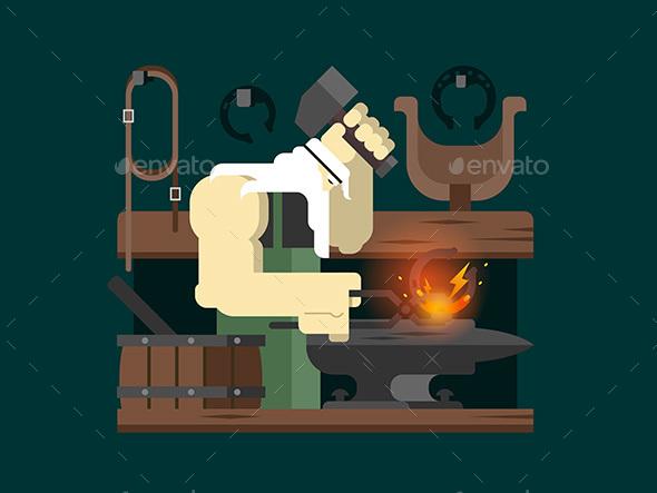 Blacksmith Character Cartoon - People Characters