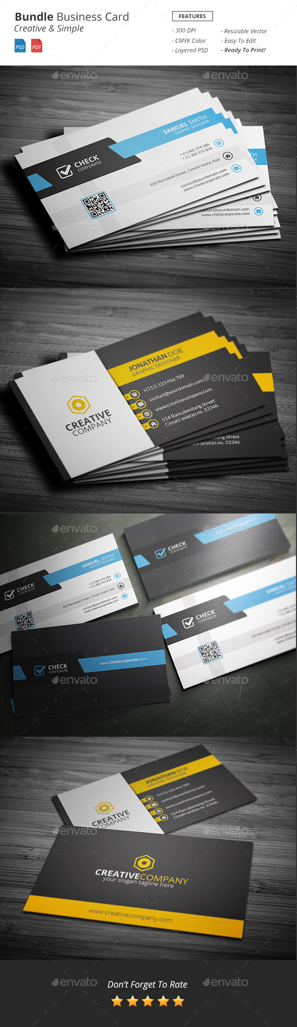 Bundle - Business Card Template - Business Cards Print Templates