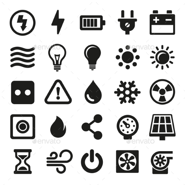 Electric Icons Set On White Background. Vector - Technology Icons