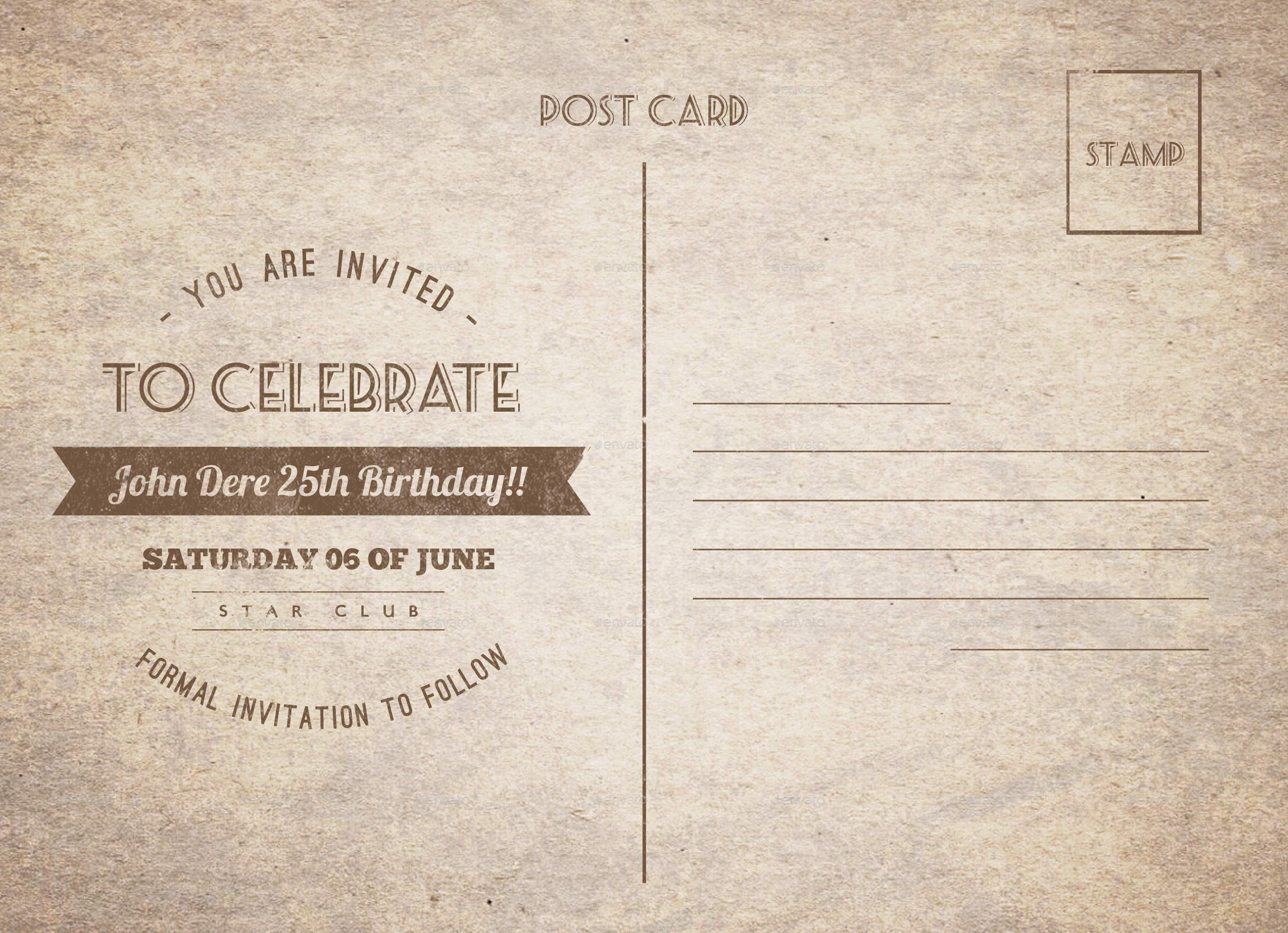 Vintage Birthday Postcard By Nishamehta Graphicriver