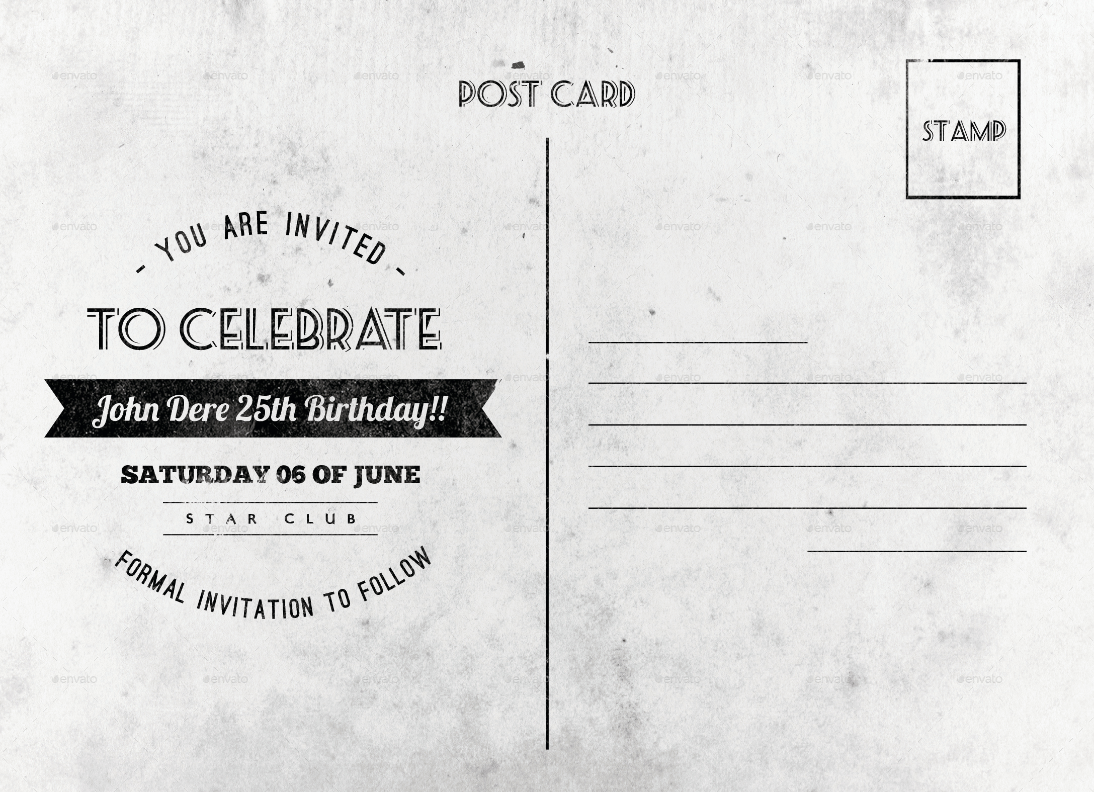 Vintage birthday postcard by nishamehta graphicriver previewbirthday card template white backg bookmarktalkfo Image collections